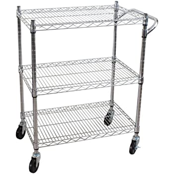 Oceanstar 3-Tier Heavy Duty All-Purpose Utility Cart, Chrome