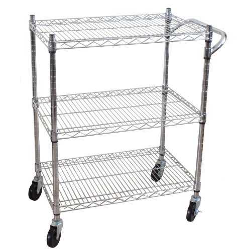 Standard Utility Duty Cart - Oceanstar 3-Tier Heavy Duty All-Purpose Utility Cart, Chrome
