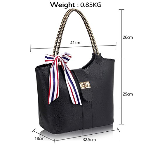Bags Size Charm Shoulder Handbags 454 Tote Designer Bag Nice Large Ladies Women's Leahward With Quality Black YZq5TwP
