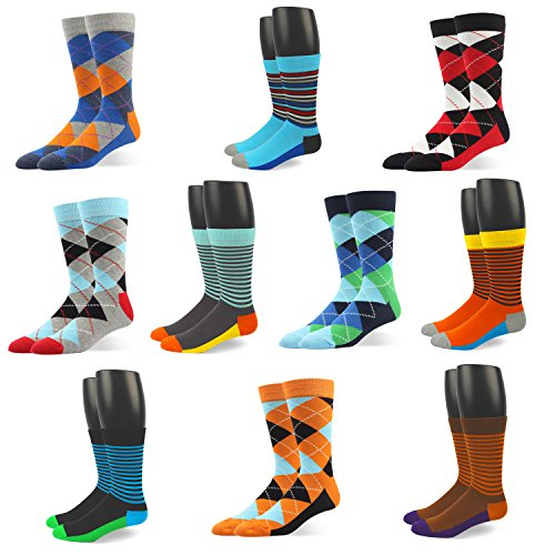 RIORIVA Men Dress Shoe Socks -Funky Colors Novelty Style Pattered (BSK39-10 Pairs Colorful Striped&Argyle, US Men Size 10.5-14/EU 44.5-49) from Rioriva