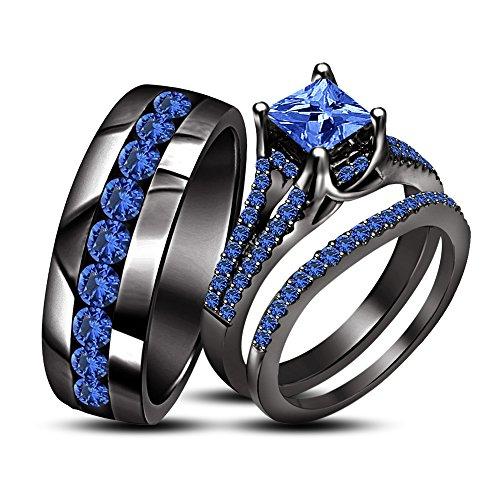 TVS-JEWELS His & Her Trio Ring Set Princess Cut Blue Sapphire 925 Silver Bridal & Men Wedding Band Ring