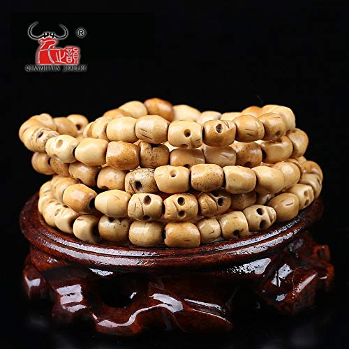 Calvas 20PCS Handmade Carved Yak Bone Beads, Skull Antique Beads for Halloween Jewelry Making, Brown,5x6/7x8/9x10mm, Hole: 2mm - (Item Diameter: 5x6mm)
