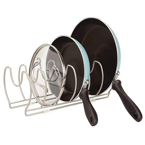 mDesign Soporte para sartenes, ollas y tapas – Organizador de tapas de ollas compacto para