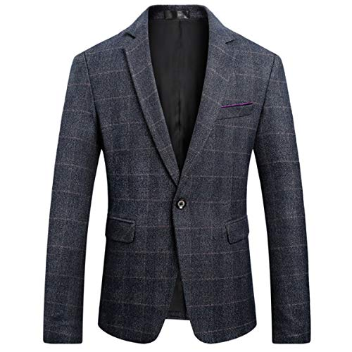 (Men's Classic Plaid Sport Coats Casual One Button Single Breasted Notched Lapel Checked Suit Jacket Navy)