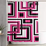 Black and Hot Pink Shower Curtains VivenW Geometric Hot Pink Black Bathroom Shower Curtain Water-Repellent 59 X70.9 Inches Washable