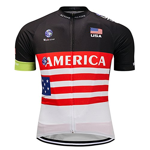 (America USA Flag Stars Cycling Jersey Short Sleeve Casual Sports Clothing Bicycle Quick-Dry T-Shirt Bike Top Size L)