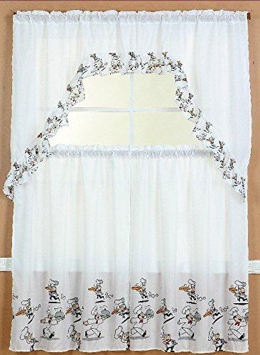 GorgeousHomeLinen 3pc White Chef Design Kitchen Window Ruffle Rod Tier  Curtains Swag Valance Set
