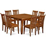 east west furniture pfpo9sbrw 9piece dining table set