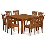East West Furniture PFPO9-SBR-W 9 Pc Dining Room Set for 8-Kitchen Table with Leaf and 8 Dinette Chairs. Review