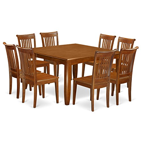 East West Furniture PFPO9-SBR-W 9 Pc Dining Room Set for 8-Kitchen Table with Leaf and 8 Dinette Chairs.