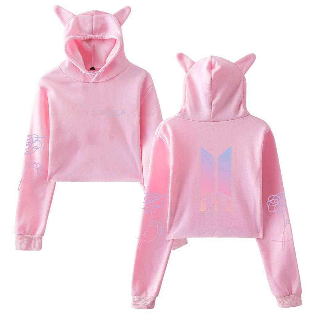 JAGENIE BTS Album Love Yourself Kpop Long Sleeve Cropped Hoodies Sweater Gray 2XL
