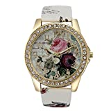 Wensltd Clearance Sale! Rose Flower Leather Band Vogue Wristwatch