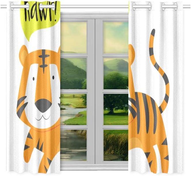 Tiger Fenstervorhang 137x117cm Wildtier Themenmuster Vorh/änge 3D Tierwelt Stil Blickdichte Vorh/änge f/ür Kinder Erwachsene Naturthema Raumdekoration