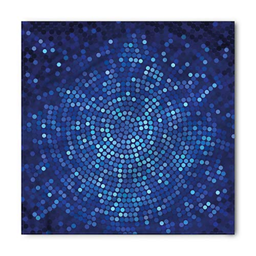 Ambesonne Unisex Bandana, Abstract Spiral Mosaic Dots, Blue Navy