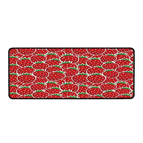 Fruits Ordinary Mouse Pad,Strawberry Themed Botany Seeds Yummy Food Organic Growth Diet Health Print Decorative for Computers Laptop Office & Home,15.75''Wx35.43''Lx0.12''H ()