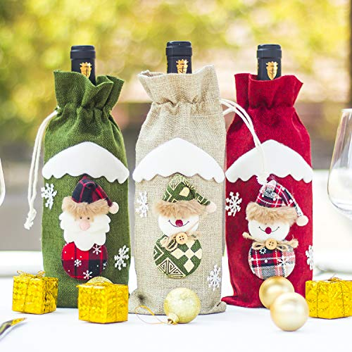 VEEYOL Christmas Wine Bottle Cover, Christmas Snowman Santa Gift Wine Bags, Xmas Home Party Table Dinner Decorations, Set of 3