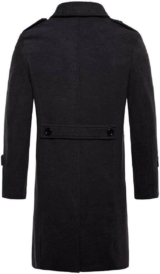 XQS Men Trench Coat Wool Blend Single Breasted Peacoats Long Jackets