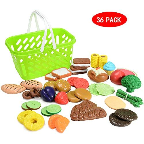 FunsLane Pretend Play Food Sets 36pcs Soft PE Vegetables Fruits and Pastries Food Assortment Playset Toys for Kids