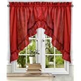 Ellis Curtain Stacey 60-by-38 Inch Ruffled Swag Curtain (Red)