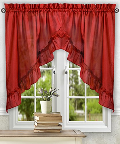 [Ellis Curtain Stacey 60-by-38 Inch Ruffled Swag Curtain (Red)] (Swag Plaid Curtain)