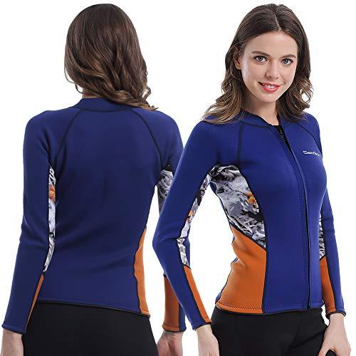 Womens Wetsuit Top, 2mm Zip Wetsuit Jacket Long Sleeve for Canoeing Sea Kayaking Snorkeling Diving Water Aerobics (Womens Wetsuit Top, 2XL) Diva Zip Front Jacket
