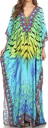 Sakkas SS1624 KF2503402A - LongKaftan Georgettina Ligthweight Printed Long Caftan Dress/Cover Up - Green Yellow/Multi - OS ()