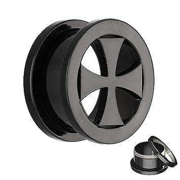 Negro Cruz Flesh Túnel para tornillos – 16 tamaños: 3 – 30 mm – Calidad