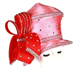 June's Young Women Church Hats Formal Wedding Party Big Bow Elegant Two Colors Stones (red Pink)