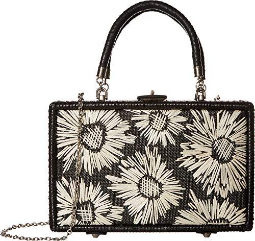 Slip Woven Satchel (Patricia Nash Women's Wicker Lamezia Satchel Black/White Straw Flowers One Size)