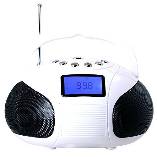August SE20 Mini Bluetooth MP3 Stereo System Portable Radio with Powerful Bluetooth Speaker- FM Alarm Clock Radio with Card reader, USB and AUX in (Micro USB) - 2 x 3W Stereo Speakers(White)