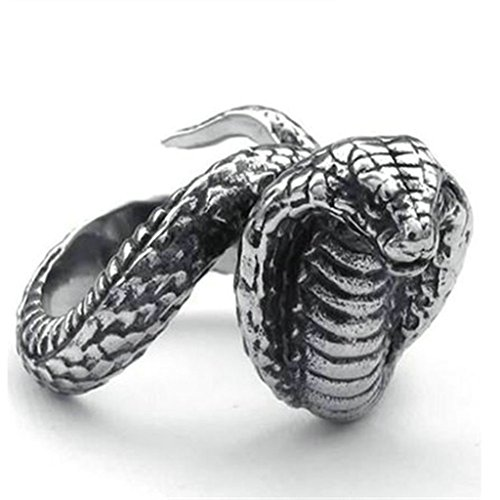 [Stainless Steel Ring for Men, Cobra Ring Gothic Silver Band 20MM Size 10 Epinki] (Cobra Staff Costumes Accessory)