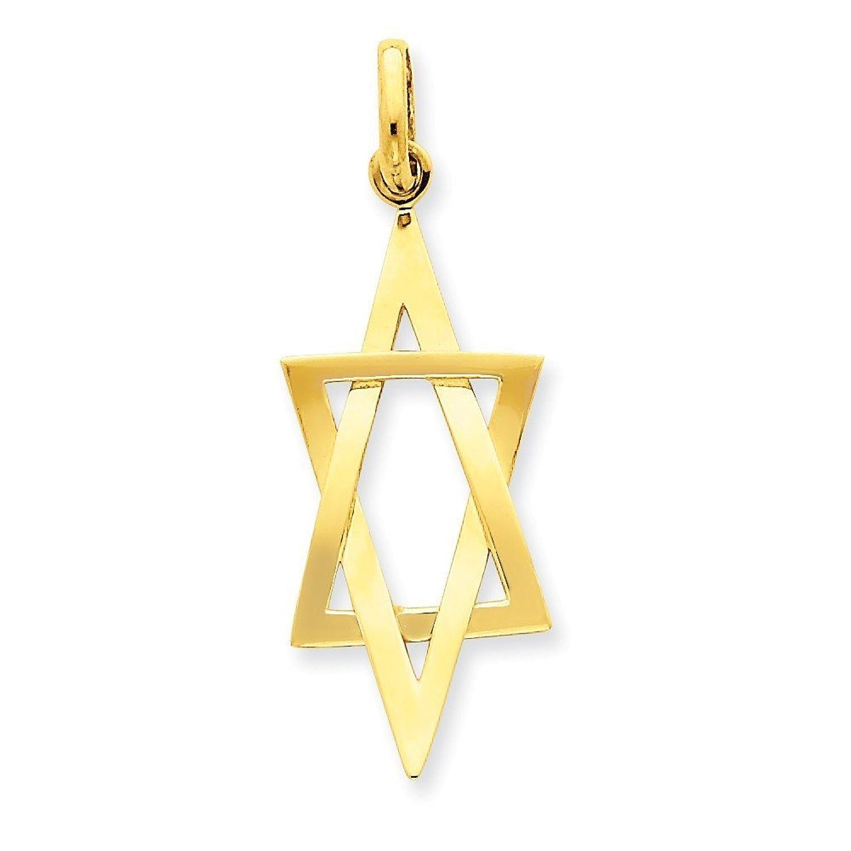 14k Gold Elongated Star of David Pendant (1.61 in x 0.59 in)