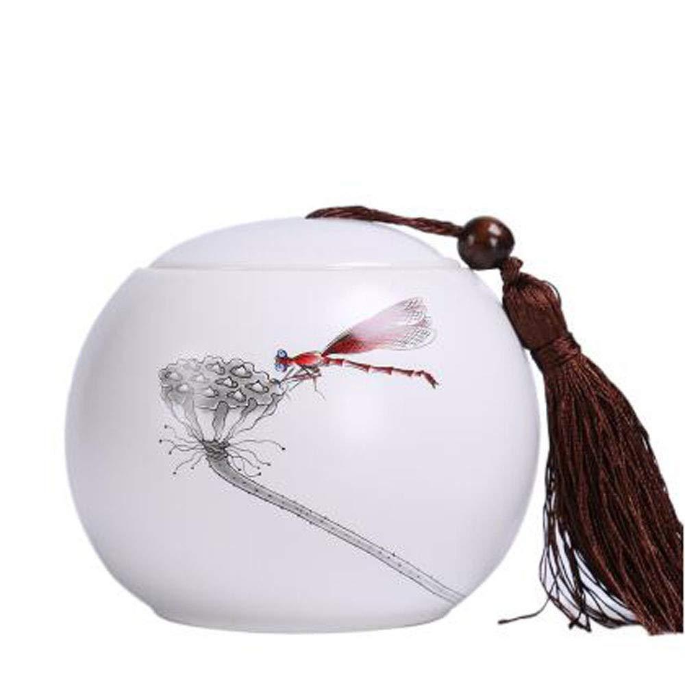 Hongyushanghang Pet urn, Close Relatives and Dear pet pet Cremation urns Souvenir Elite Flower Ceramic White Bright (Pattern   A)