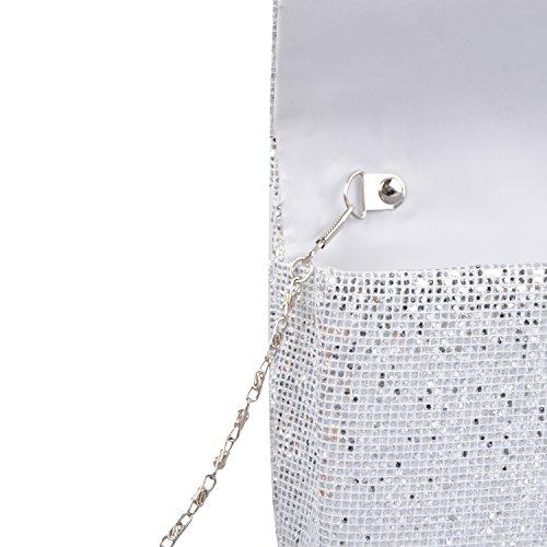 Lifewish Damen Taschen Ganzjährig Kunstleder Abendtasche Paillette für Veranstaltung /Spark Glitter Abend Clutch Bag Silber 1AABMW