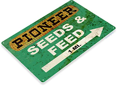 Tinworld TIN Sign B580 Pioneer Seed and Feed Farm Seeds Feed Rustic Metal Decor (Signs Vintage Seed)