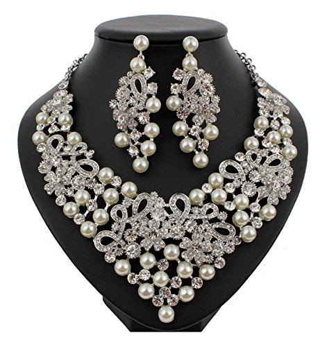 Faux Rhinestone Necklace - Janefashions Daisy Faux Pearl Off White Austrian Rhinestones Bib Necklace Earrings Set N923 (Silver)