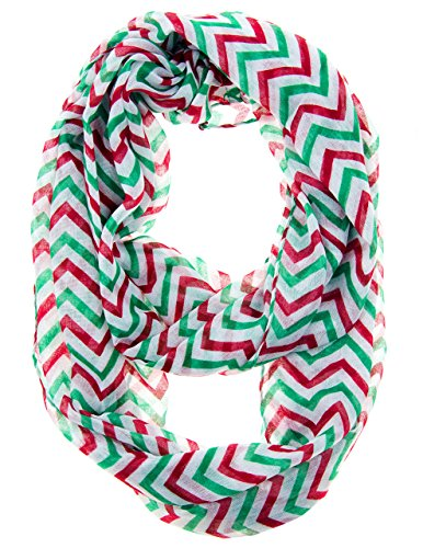 Cotton Cantina Soft Chevron Sheer Infinity Scarf in Contrasting Colors (One Size, -