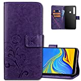 Samsung Galaxy A9 2018 Wallet Case Leather COTDINFORCA Premium PU Embossed Design Magnetic Closure Protective Cover with Card Slots for Samsung Galaxy A9 2018. Luck Clover Purple