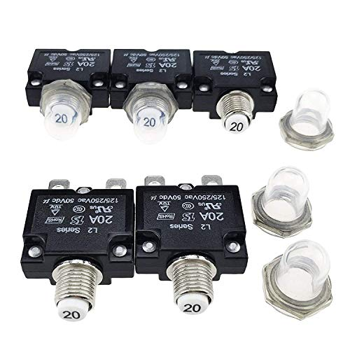 (T Tocas 5pcs Push Button Reset 20A Circuit Breakers with Quick Connect Terminals Waterproof Button DC50V AC125-250V)