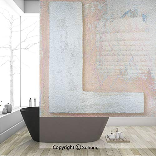 (3D Decorative Privacy Window Films,Retro Art with Capitalized L Worn Timber Textured Wooden Writing Elements Image,No-Glue Self Static Cling Glass film for Home Bedroom Bathroom Kitchen Office 36x48 I)