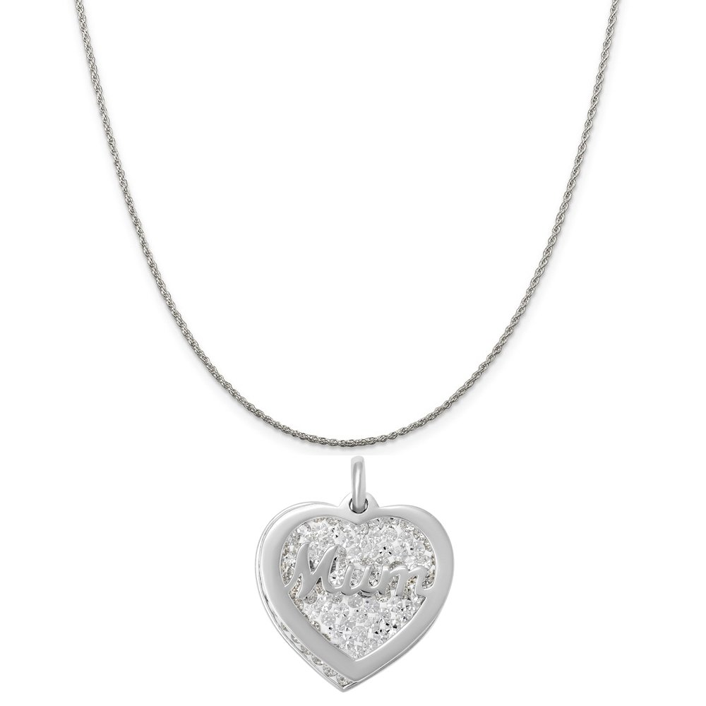 Box or Curb Chain Necklace 18 or 20 inch Rope Sterling Silver Crystal Mum Heart Charm on a 16