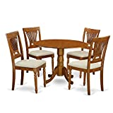 East West Furniture DLPL5-SBR-C 5-Piece Kitchen Nook Dining Table Set, Saddle brown Finish