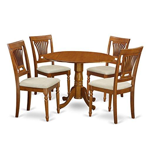 East West Furniture DLPL5-SBR-C 5-Piece Kitchen Nook Dining Table Set, Saddle brown Finish (4 Piece Nook Cushion)