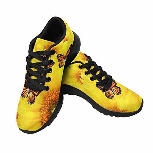 InterestPrint Womens Jogging Running Sneaker Lightweight Go Easy Walking Comfort Sports Running Shoes Yellow Sunflowers Atop One Another Multi 1 3VsSgl0