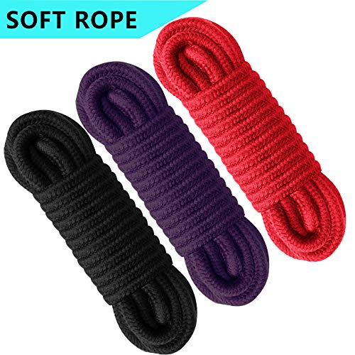 Soft Cotton Rope -Strong and Durable Rope, All-Purpose Rope for Strong Triple-Strand Rope for Sports, Pet Toys, Crafts & Indoor Outdoor Use (3 Pack red Black Purple) by Yezala