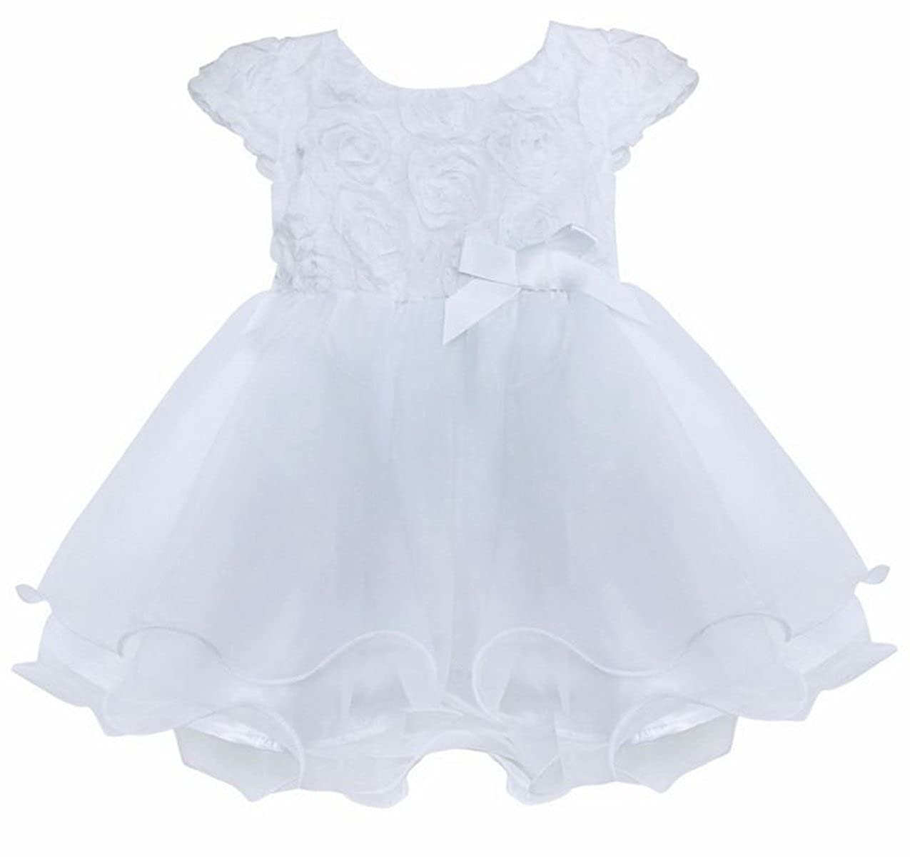 iEFiEL Baby Girls' Short Sleeve 3D Rose Layered Princess Tutu Dresses Wedding Birthday Party Christening Gowns