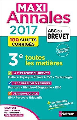 Livre gratuits MAXI Annales ABC du BREVET 2017 pdf ebook