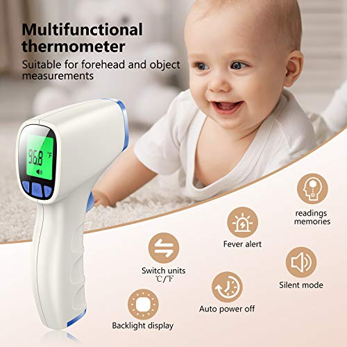 JUMPER Infrared Forehead Thermometer,Clinical Non Contact Baby Thermometer with 3-Modes Body Surface Room, Fever Alert Function, 3 in 1 Digital Medical Thermometer for Infants Adults Sky-Blue