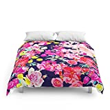 Society6 Summer Bright Antique Floral Print With Hot Pink, Yellow, And Navy V2 Comforters Full: 79'' x 79''
