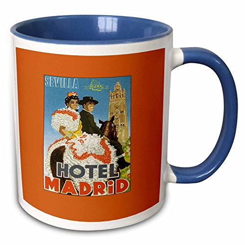 3dRose BLN Vintage Travel Posters and Luggage Tags - Sevilla Hotel Madrid Spain Festive Couple on Horseback - 15oz Two-Tone Blue Mug (mug_170519_11)